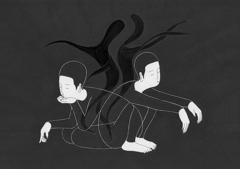 흥 / Let's dance Op.0094CS-16 -29.7 x 21 cm,종이에 펜, 마커, 잉크 / Pigment liner, marker, and ink on paper, 2015 Commissioned by Maison Kitsuné