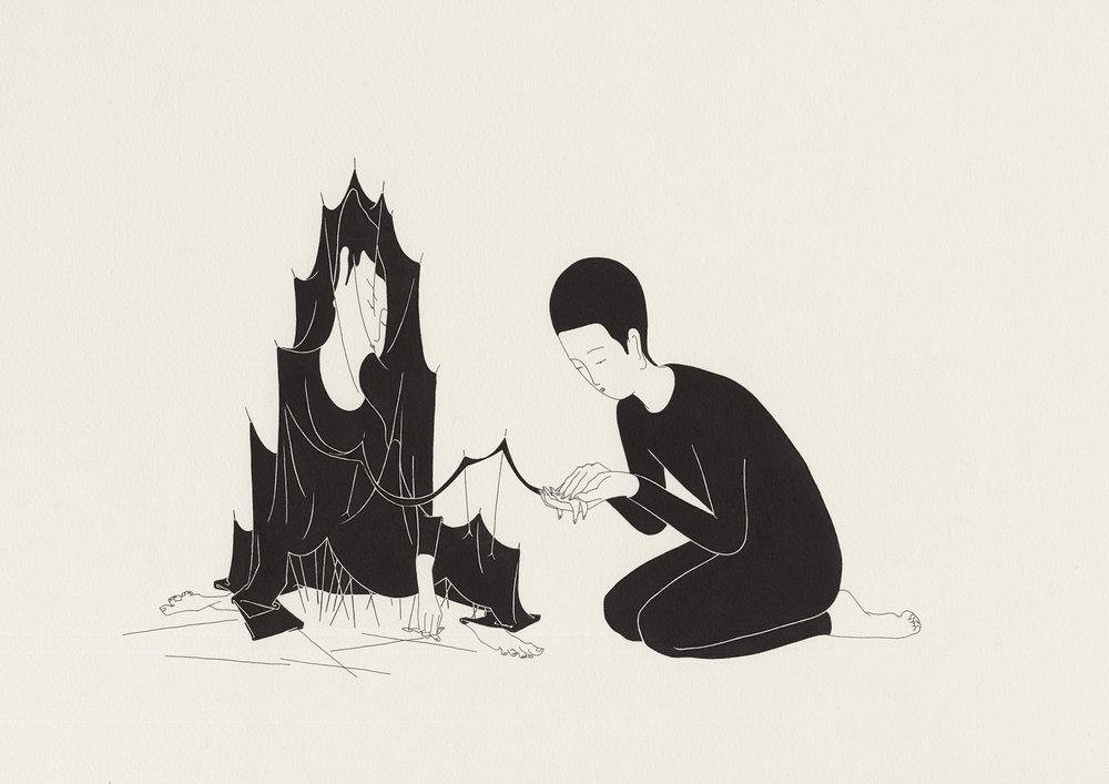 옛 우상 / A tale of two twins Op.0095C -56.5 x 38 cm,종이에 펜, 마커 / Pigment liner and marker on paper, 2015 Commissioned by New York Times