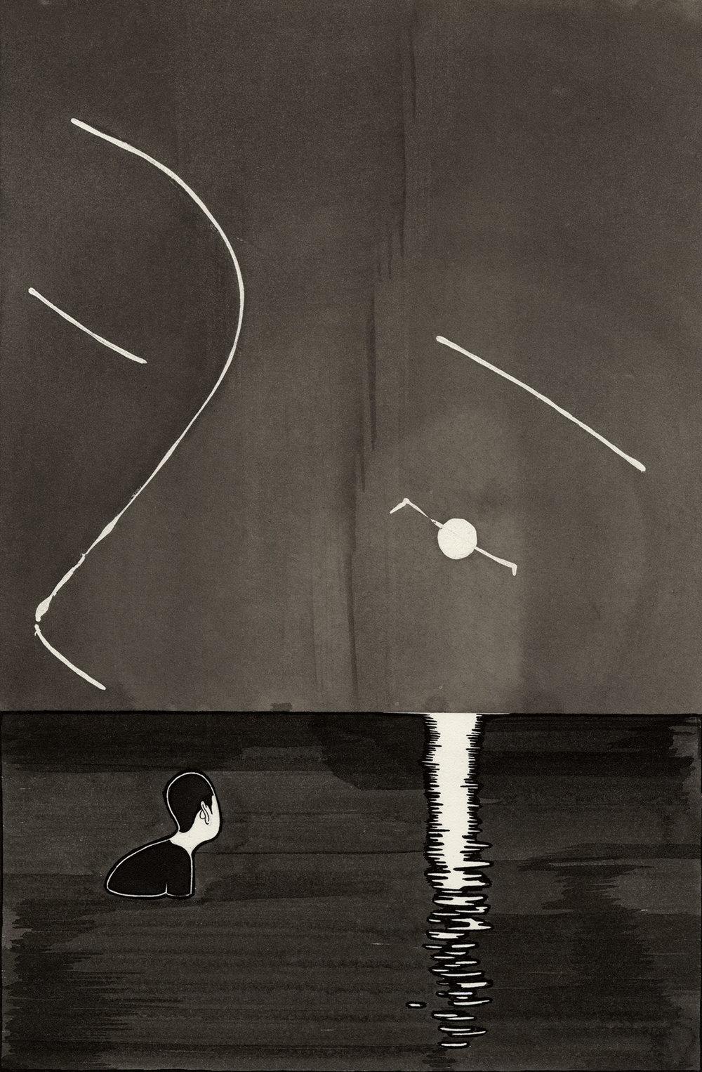 나의 달 I  /  Awaken I   Op.0097CS-1 -19.5 x 29.5 cm,종이에 잉크 / Ink on paper, 2015
