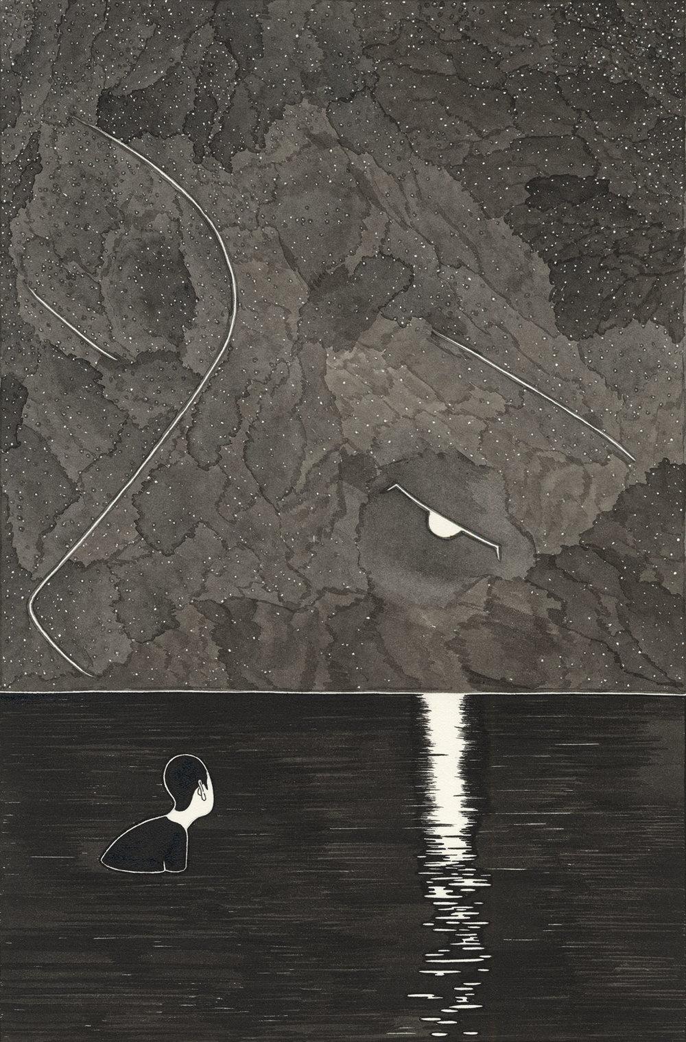 나의 달 II / Awaken II Op.0097CS-2 -19.5 x 29.5 cm,종이에 잉크 / Ink on paper, 2015