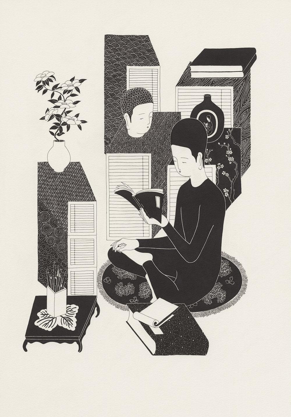 책을 편다 I  /  Openbook I   Op.0098F -35 x 52 cm,종이에 펜, 마커 / Pigment liner and marker on paper, 2015