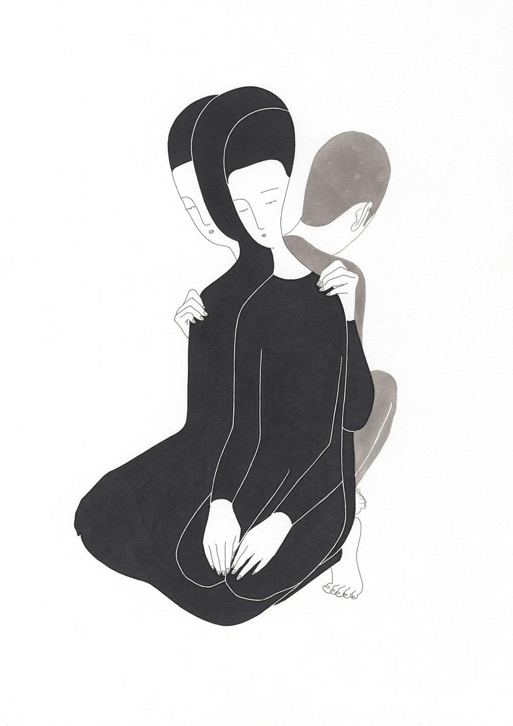 너의 우리 / Being for others Op.0101P -38 x 56.5 cm,종이에 펜, 마커, 잉크 / Pigment liner, marker, and ink on paper, 2015