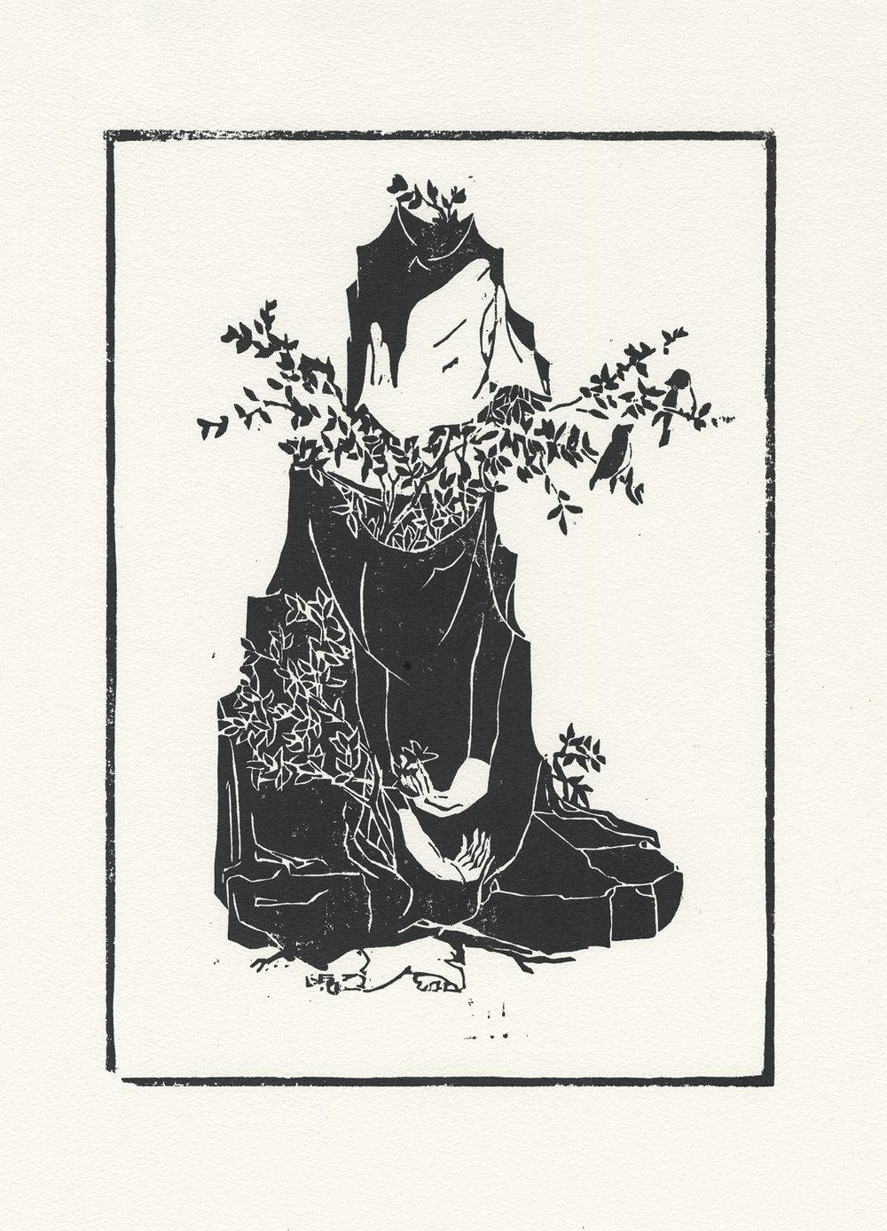 나무와 나  /  Wooden you   Op.0103P -27 x 36 cm,종이에 잉크(목판화) / Ink on paper (woodcut print), 2015