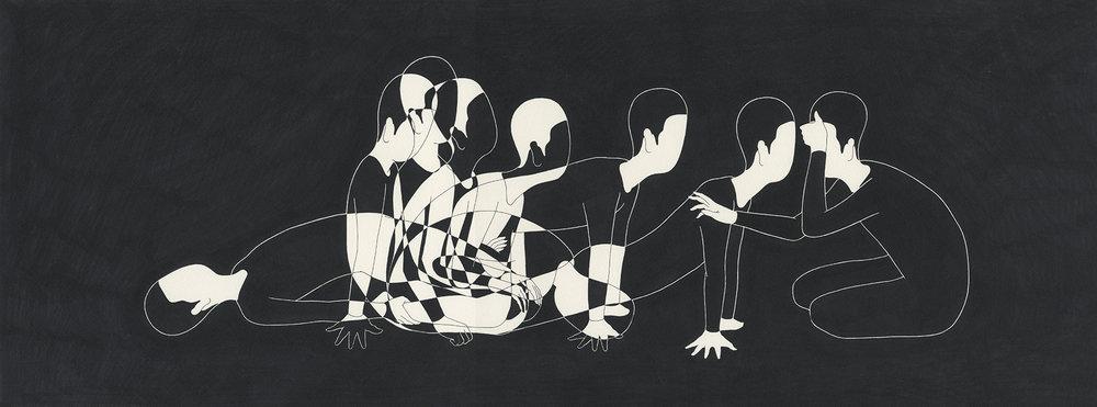 만아경 萬我鏡 / Spectrum of you Op.0104P -75 x 28 cm,종이에 펜, 마커 / Pigment liner and marker on paper, 2015