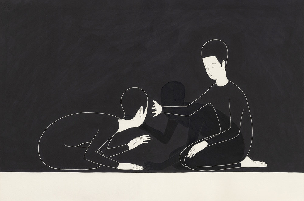 독심술讀心術 / Curtain call Op. 0107P - 56.5 x 38 cm, 종이에 펜, 마커, 잉크 / Pigment liner, marker, and ink on paper, 2015