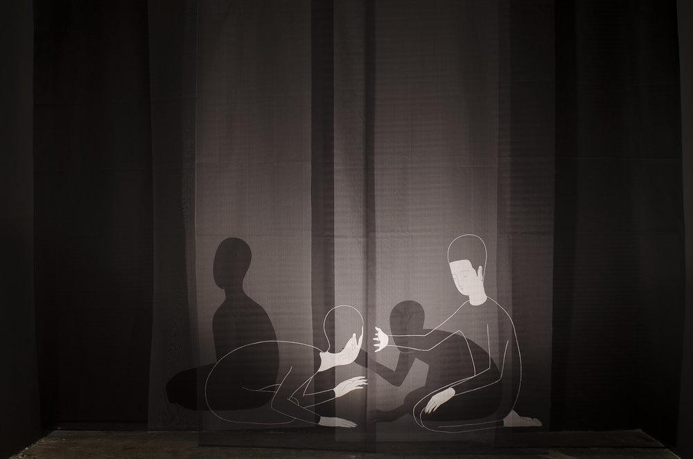 독심술讀心術 (설치작품) / Curtain call (Installation) Op. 0107P - 400 x 300 cm, 모시에 디지털 프린트 가변설치 / Digital print on ramie fabric installation, 2015