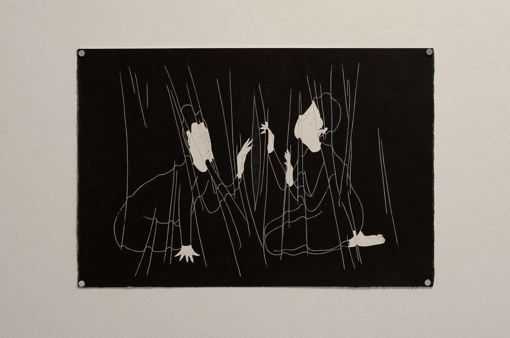 늙은 관계  /  We wrinkled   Op.0108P -56.5 x 38 cm,종이에 펜, 마커 / Pigment liner and marker on paper, 2015