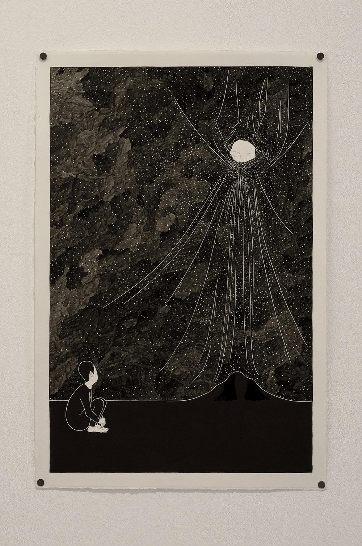 밤의 장막 / Illusion about beyond Op.0109P -38 x 56.5 cm,종이에 펜, 마커, 잉크,Pigment liner, marker, and ink on paper, 2015