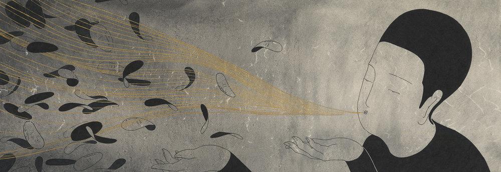 봄바람 / Spring breeze Op.0114P -88 x 30 cm,한지에 먹, 금분 / Korean ink and gold on Korean paper, 2016