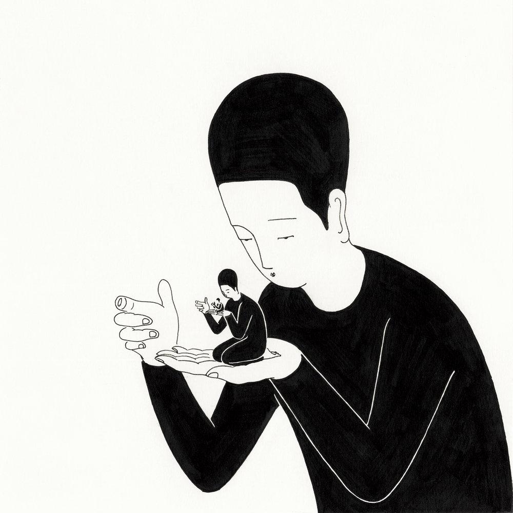 나, 나를 지키는 나, 나를 버리는 나 / What are three things you would save if your home were on fire? Op. 0116CS-3 -20 x 20 cm,종이에 펜, 마커 / Pigment liner and marker on paper, 2016 Interviewed by Define Magazine, 2016