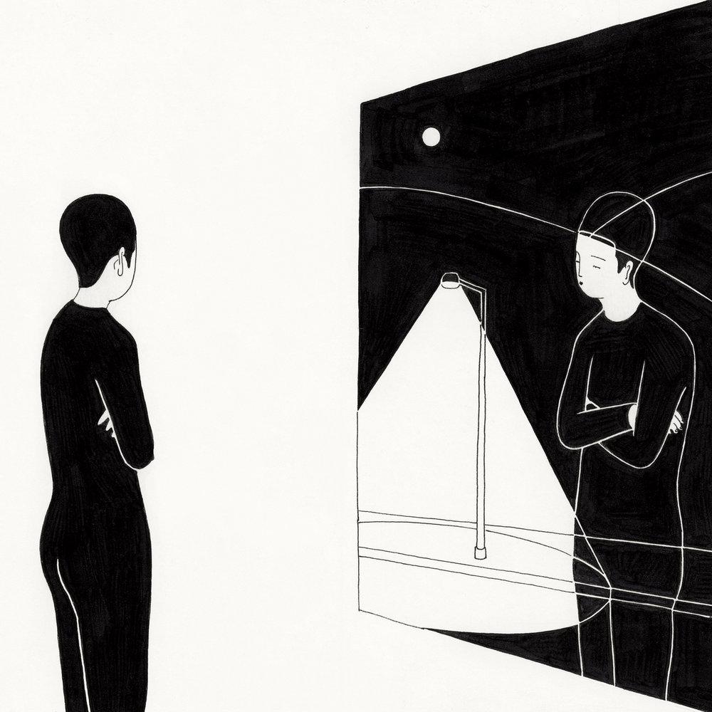 창밖의 나 / What can you see from the window? p. 0116CS-4 -20 x 20 cm,종이에 펜, 마커 / Pigment liner and marker on paper, 2016 Interviewed by Define Magazine, 2016