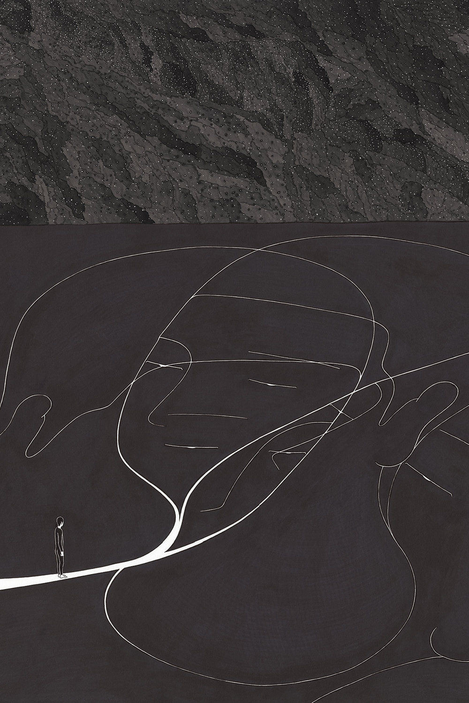 무나씨 II / Mr. Nobody II Op.0118F -54 x 78 cm,종이에 펜, 마커, 잉크 / Pigment liner, marker, and ink on paper, 2016 Commissioned by BIFAN