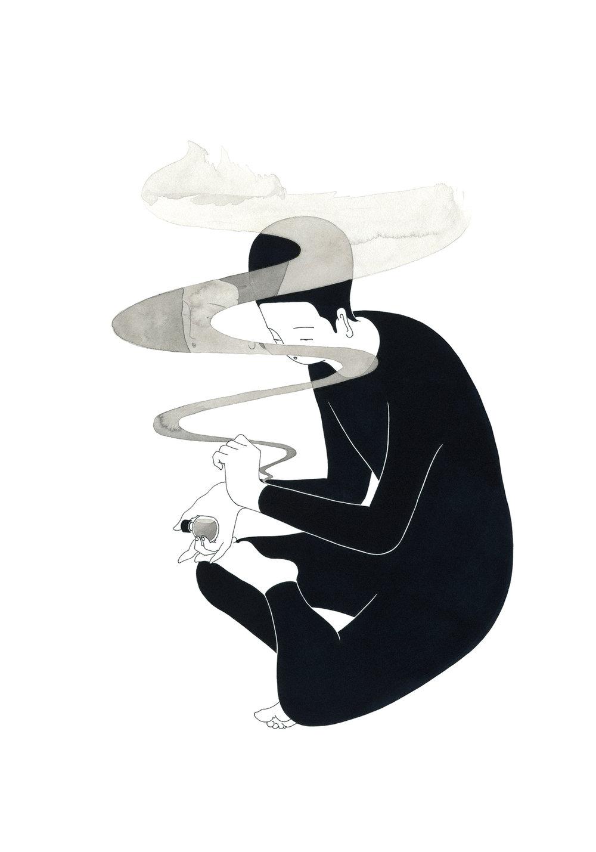 그의 방향 / Scented you Op.0122CS-1 -38 x 56.5 cm,종이에 펜, 마커, 잉크 / Pigment liner, marker, and ink on paper, 2016 Commissioned by Son Venin