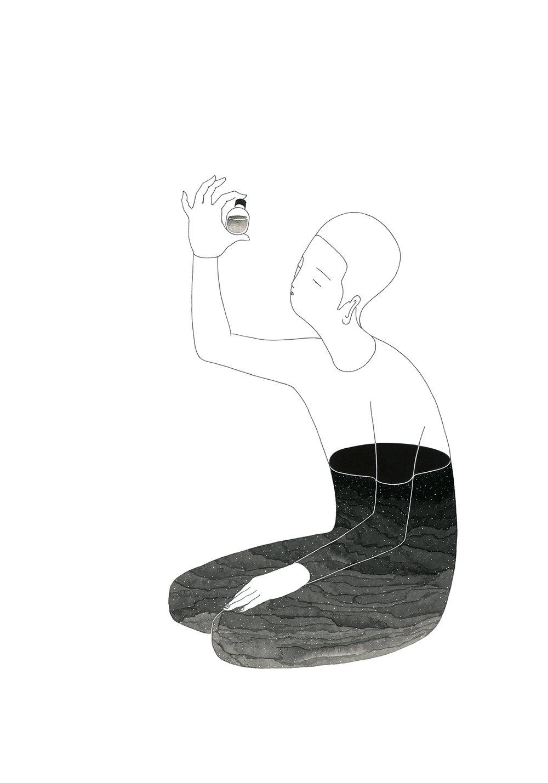 반의반 / Fifty fifty Op.0122CS-2 -38 x 56.5 cm,종이에 펜, 마커, 잉크 / Pigment liner, marker, and ink on paper, 2016 Commissioned by Son Venin