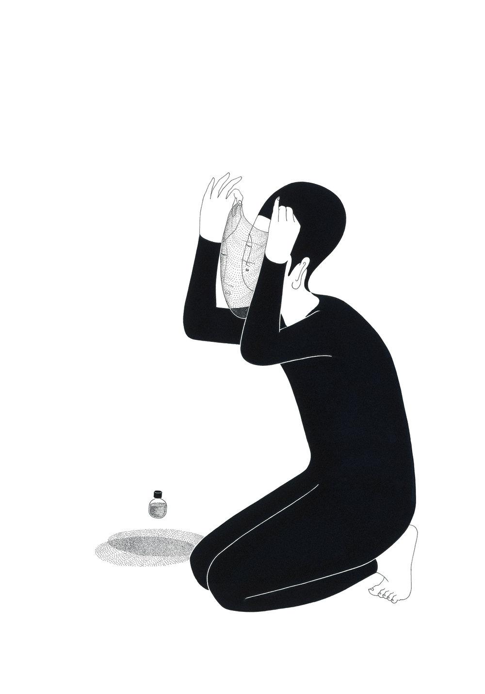 나의 면면 / Face to face Op.0122CS-4 -38 x 56.5 cm,종이에 펜, 마커, 잉크 / Pigment liner, marker, and ink on paper, 2016 Commissioned by Son Venin