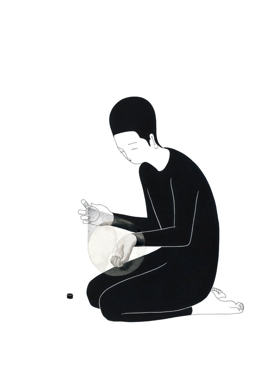존재감 / A subtle nuance Op.0122CS-5 -38 x 56.5 cm,종이에 펜, 마커, 잉크 / Pigment liner, marker, and ink on paper, 2016 Commissioned by Son Venin