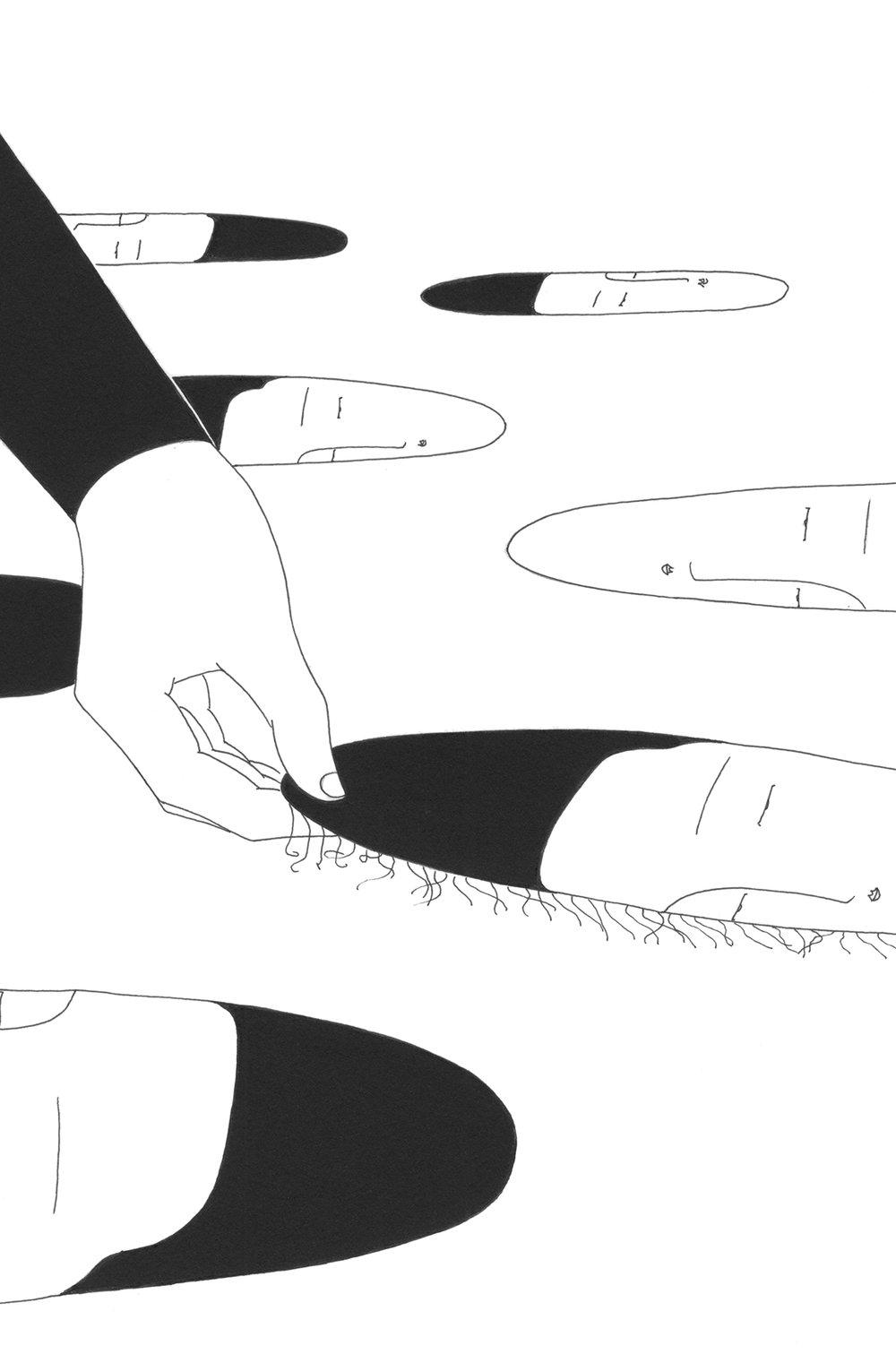 안 쓴 얼굴 / Raise my face Op. 0123CS-6 -21 x 29.7 cm,종이에 펜, 마커 / Pigment liner and marker on paper, 2016 Commissioned by Minumsa