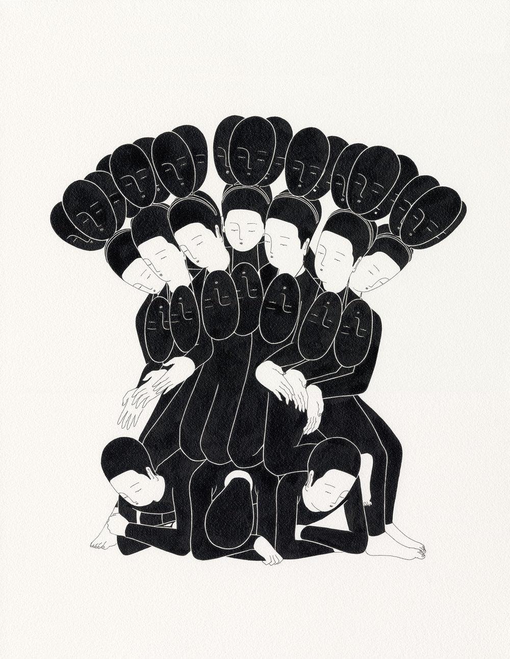 허영 덩어리 / Creature of fame Op.0125P -41 x 53 cm,종이에 잉크 / Ink on paper, 2016
