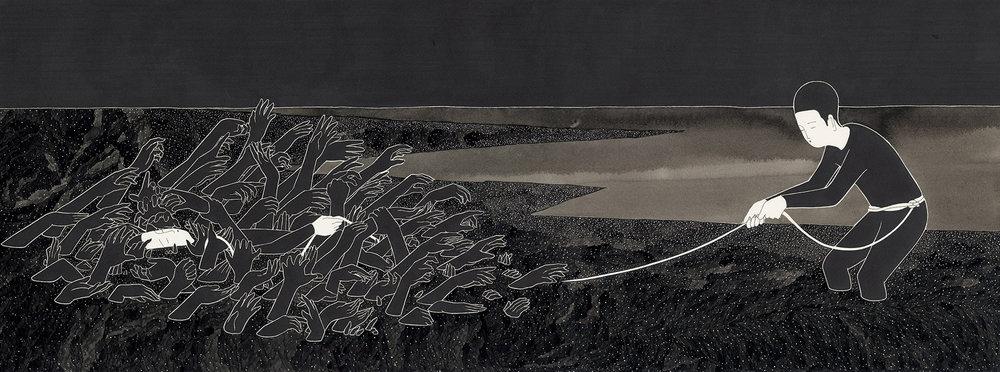 불가항력 / On the other hands Op.0129P -76.5 x 28.5 cm,종이에 펜, 마커, 잉크 / Pigment liner, marker, and ink on paper, 2016