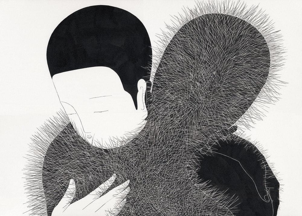 괜찮아 / Embraceable you Op.0137P -84 x 60 cm,종이에 잉크 / Ink on paper, 2016