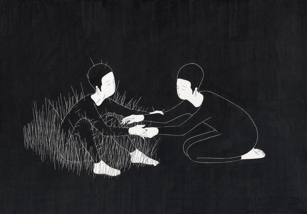 가시방석 / Thorny bush you wish to stay Op.0138P -73 x 51 cm,종이에 잉크 / Ink on paper, 2016