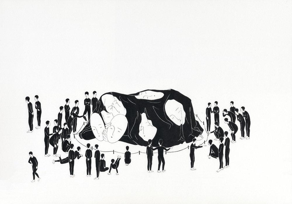 우리 살이  /  Me zoo   Op.0140P -73 x 51 cm,종이에 잉크 / Ink on paper, 2016
