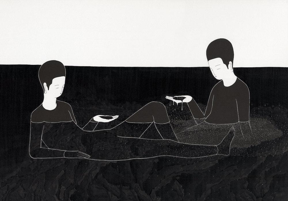 우리는 무언가 / What we are Op.0141P -73 x 51 cm,종이에 잉크, 마커 / Ink and marker on paper, 2016