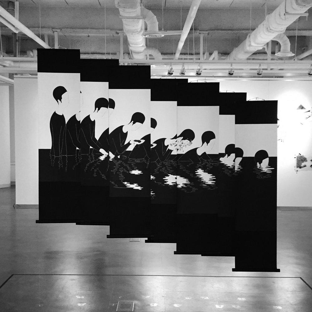 세례 / Into the black Op.0142PS-1 ~ 7 -35 x 90 cm,한지에 먹 / Korean ink on Korean paper, 2016