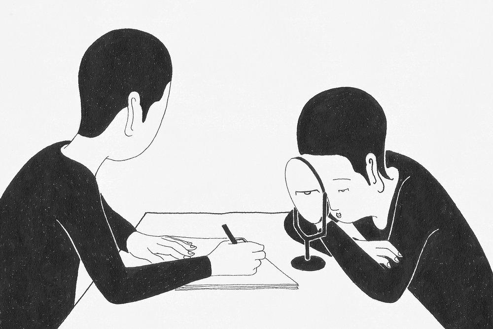 매의 눈 / Written by eyes Op.0144C -11.7 x 8.3 cm,종이에 펜, 마커 / Pigment liner and marker on paper, 2017 Commissioned by New York Times
