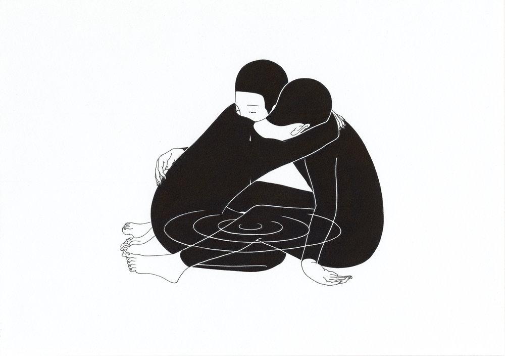 울음 울림 / When you cry Op.0145C -29.7 x 21 cm,종이에 펜, 마커 / Pigment liner and marker on paper, 2017 Commissioned byVillage Voice