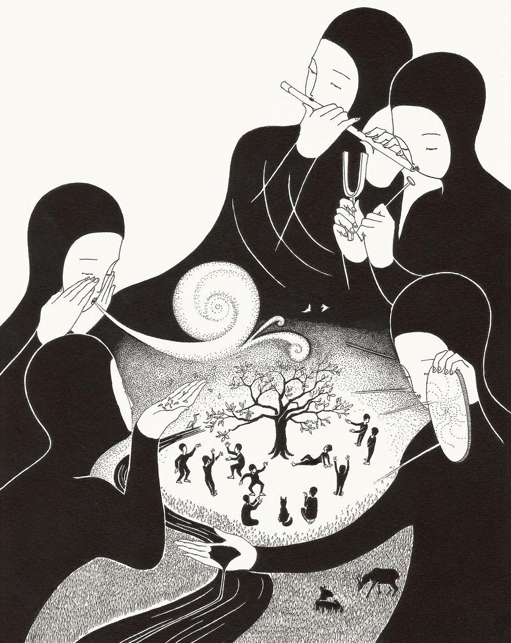 봄의 정령 / Spirits of spring Op.0147C -21 x 29.7 cm,종이에 펜, 마커 / Pigment liner and marker on paper, 2017 Commissioned by Goraeya