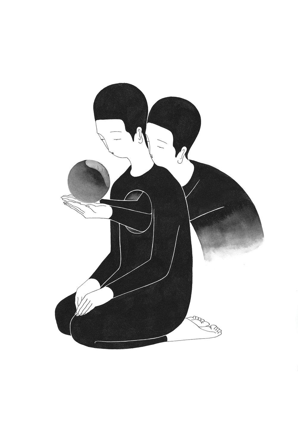 내가 보여줄게 / See through you Op.0148C -38 x 56 cm,종이에 잉크 / Ink on paper, 2017 Commissioned by Minumsa