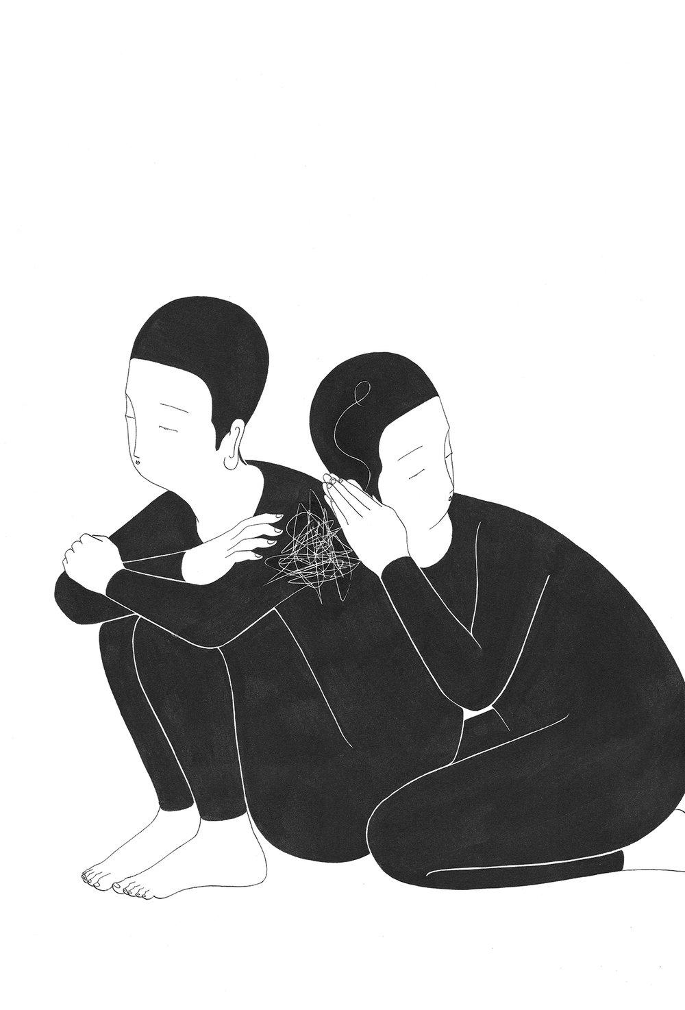 마음 덤불 / Whatever you said Op. 0149C -38 x 56 cm,종이에 잉크 / Ink on paper, 2017 Commissioned by Minumsa