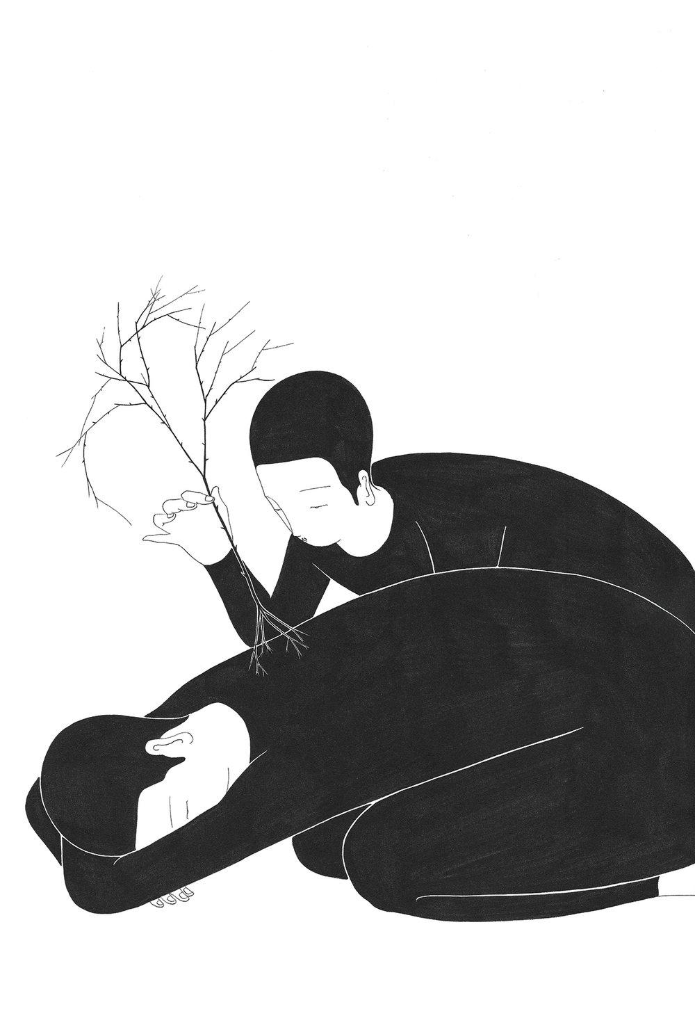 근 심 / Root of your pain Op.0150C -38 x 56 cm,종이에 잉크 / Ink on paper, 2017 Commissioned by Minumsa
