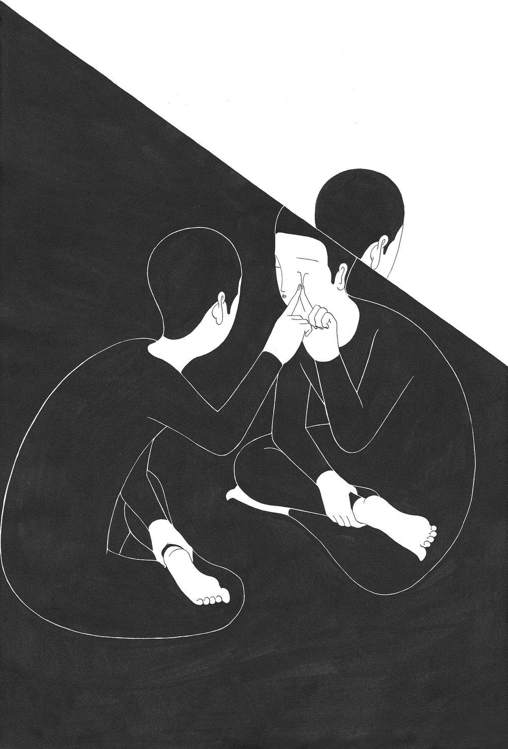 위로의 이면 / Oblique sympathy Op.0151C -38 x 56 cm,종이에 잉크 / Ink on paper, 2017 Commissioned by Minumsa