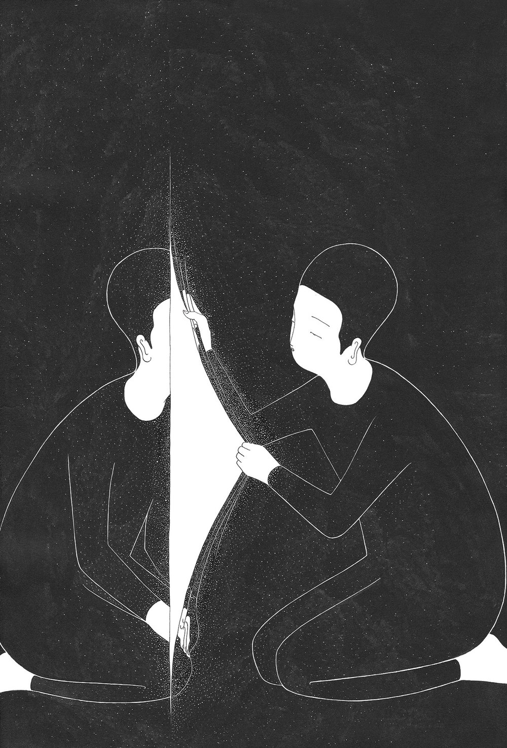 너와 너 사이 / A crack in you Op.0152C -38 x 56 cm,종이에 잉크 / Ink on paper, 2017 Commissioned by Minumsa