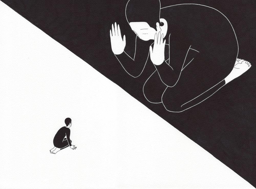 나는 무에 / I'm in black Op.0157C -37.5 x 27.5 cm,종이에 펜, 마커 / Pigment liner and marker on paper, 2017 Commissioned by Mosaic Science