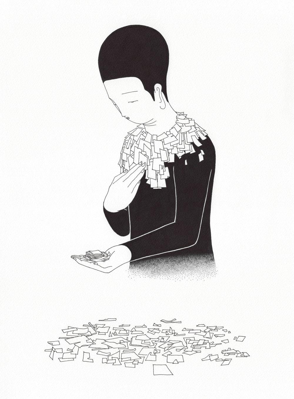 나를 기억해 / Recollection of me Op.0158C -27.5 x 37.5 cm,종이에 펜, 마커 / Pigment liner and marker on paper, 2017 Commissioned by Mosaic Science