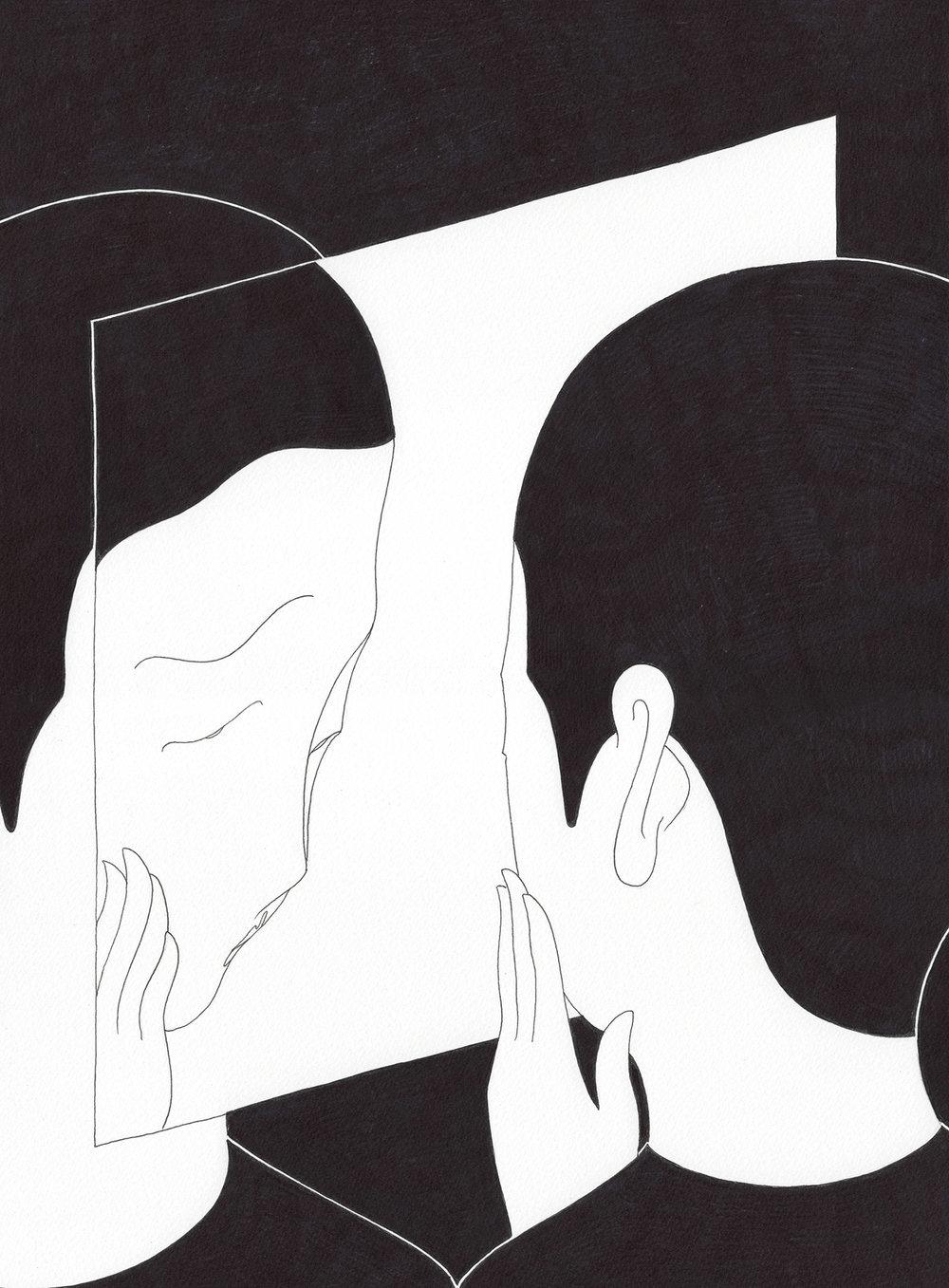 자학의 거울 / Mirror of self-deprecating Op.0159C -27.5 x 37.5 cm,종이에 펜, 마커 / Pigment liner and marker on paper, 2017 Commissioned by Mosaic Science