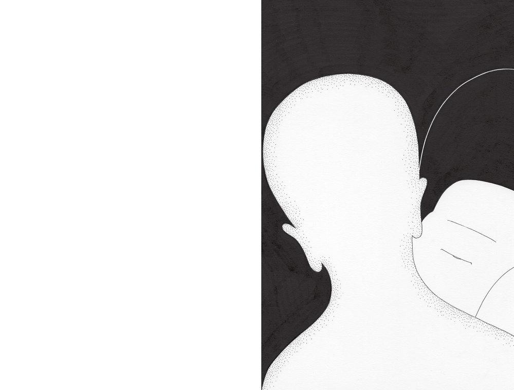 뒤에 / Both sides now II Op.0161CS-2 -21 x 29.7 cm,종이에 펜, 마커 / Pigment liner and marker on paper, 2017