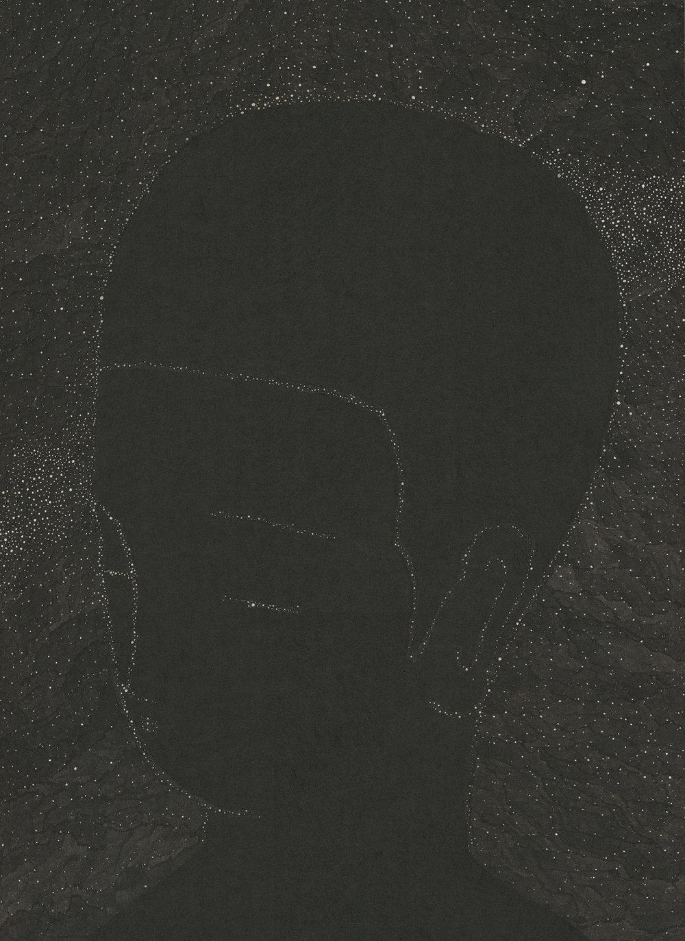 짓고 허무는 경계 I / Ephemeral silhouette I Op.0163P -33.5 x 46 cm,한지에 먹 / Korean ink on Korean paper, 2017