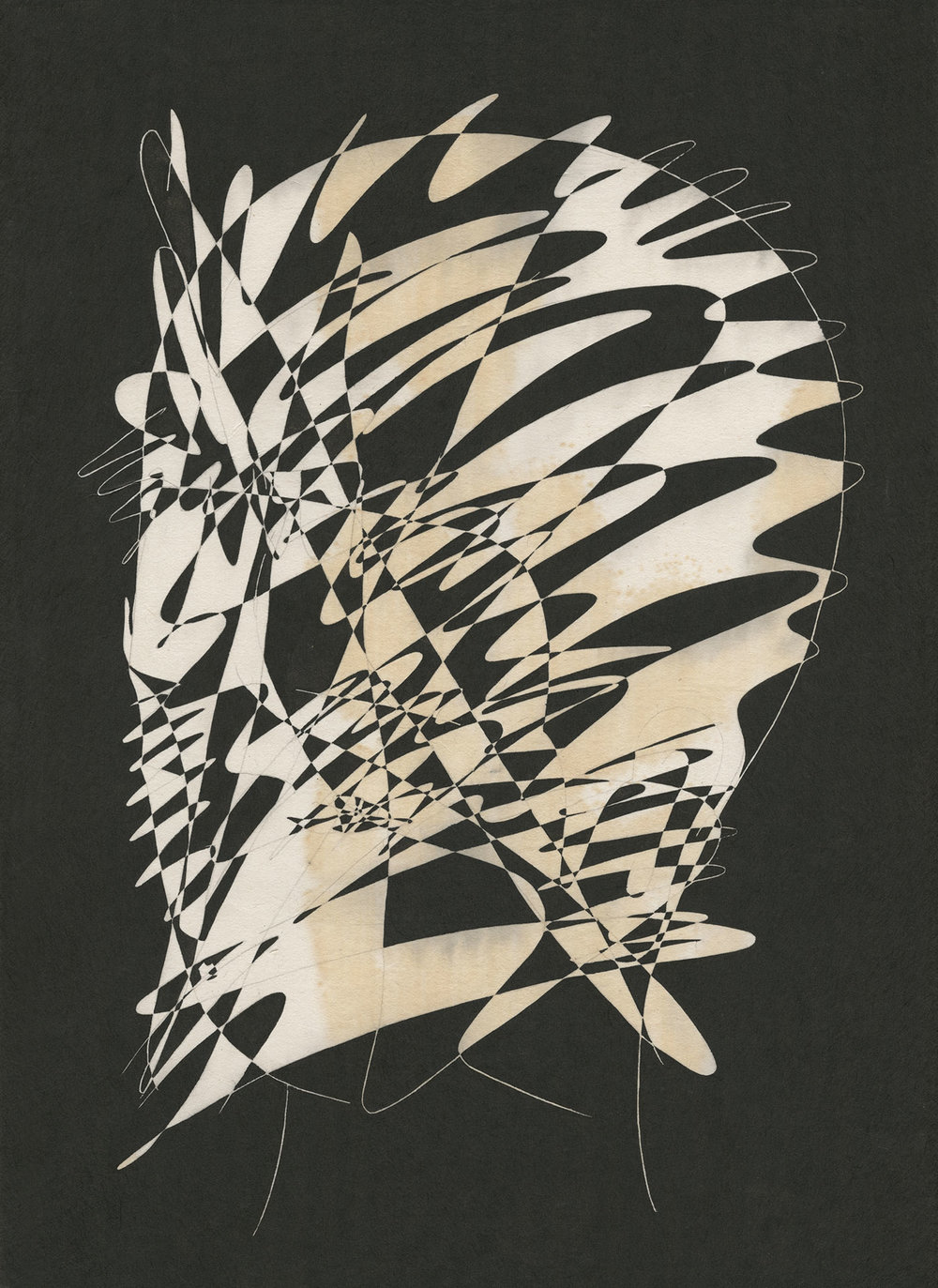 짓고 허무는 경계 III / Ephemeral silhouette III Op.0165P -33.5 x 46 cm,한지에 먹 / Korean ink on Korean paper, 2017