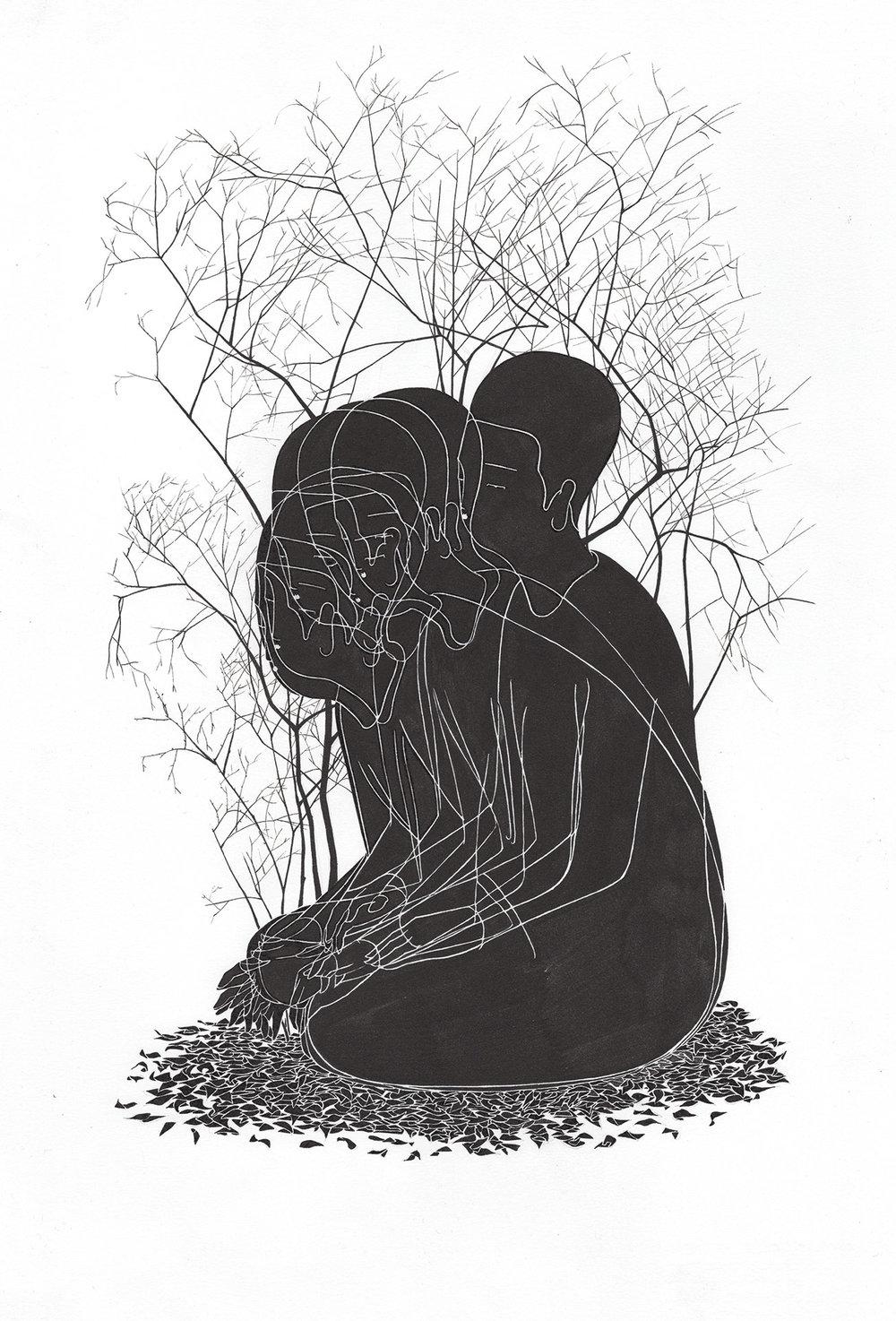 조금씩 흔들릴 뿐 늘 거기에 있다 / Tree was there swaying in the wind like me Op.0172P -38 x 56 cm,종이에 잉크 / Ink on paper, 2017