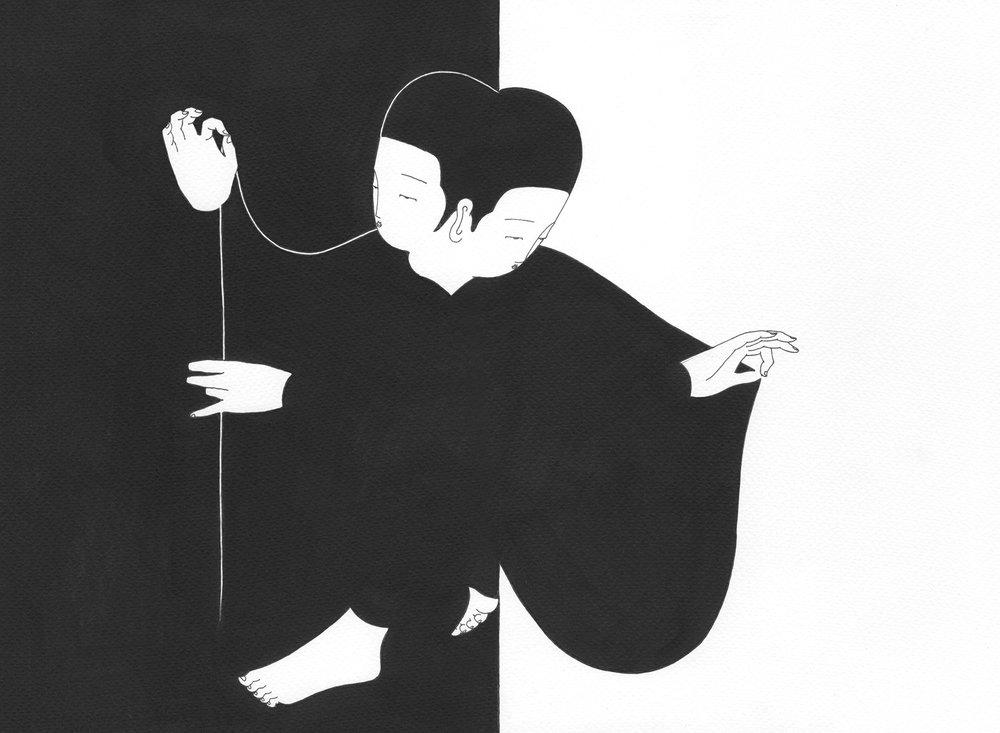 변함없이 변하는 경계  /  Everlasting silhouette   Op.0173P -37.5 x 27.5 cm,종이에 펜, 마커 / Pigment liner and marker on paper, 2017