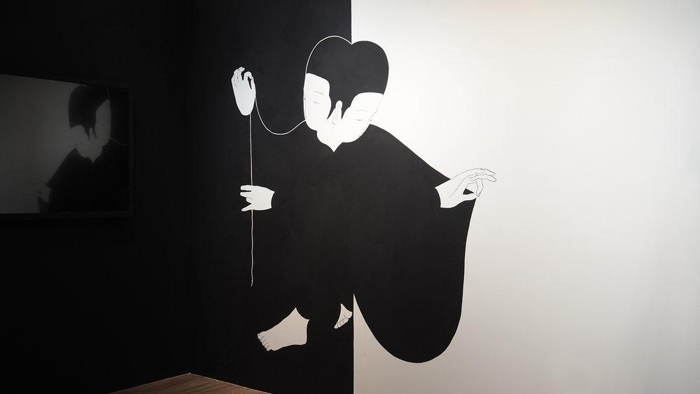 변함없이 변하는 경계 (벽화) / Everlasting silhouette (Wall painting) Op.0173P - 200 x 200 cm, 가벽에 아크릴 채색 / Acrylic on wall, 2017