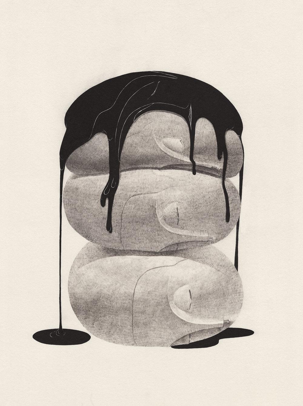 생각의 경도 / The hardness of thought Op.0180P -42 x 68 cm,한지에 먹 / Korean ink on Korean paper, 2017