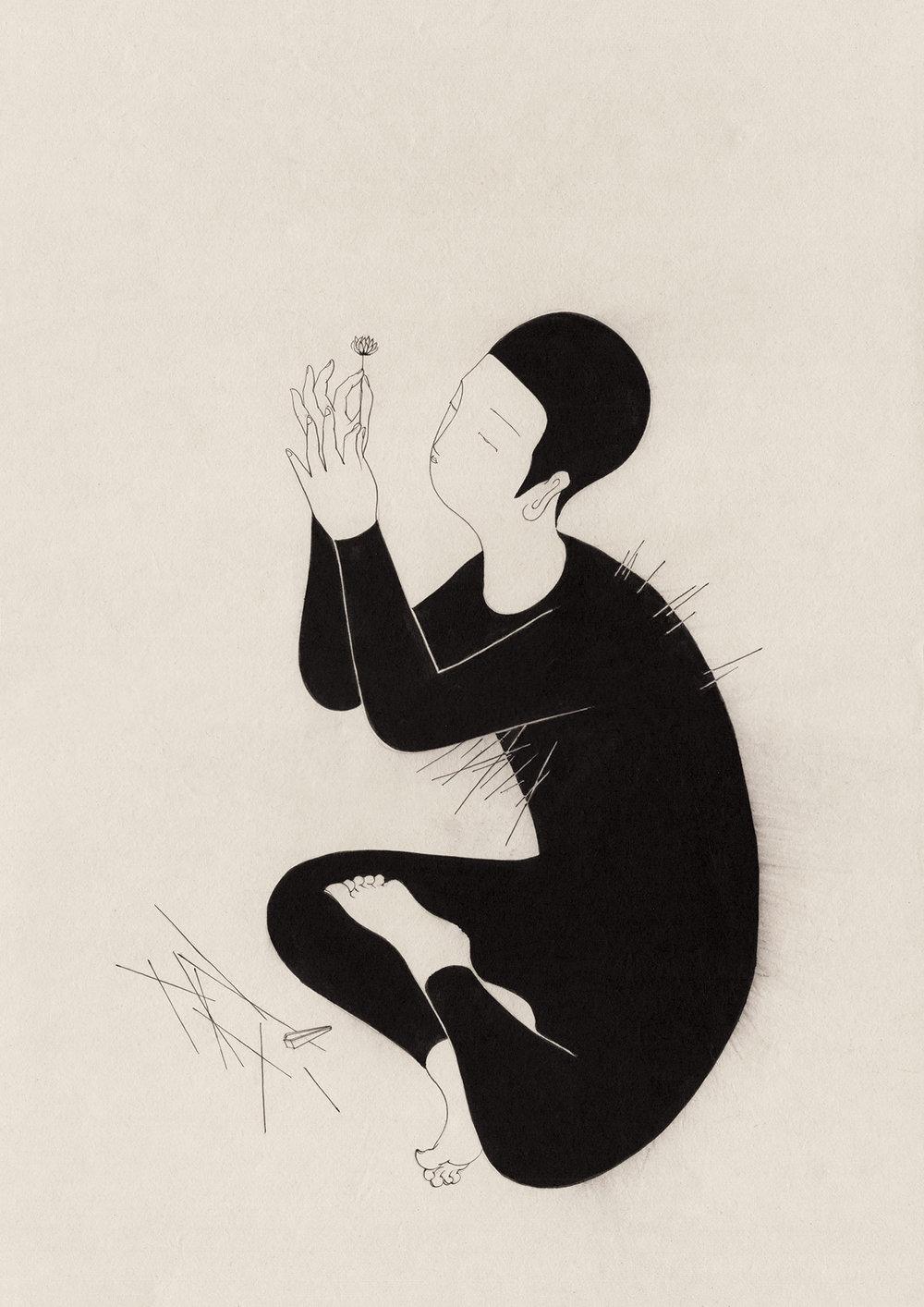 첨단의 고통 / Edge of pain Op.0182P -29.7 x 42 cm,한지에 먹 / Korean ink on Korean paper, 2017