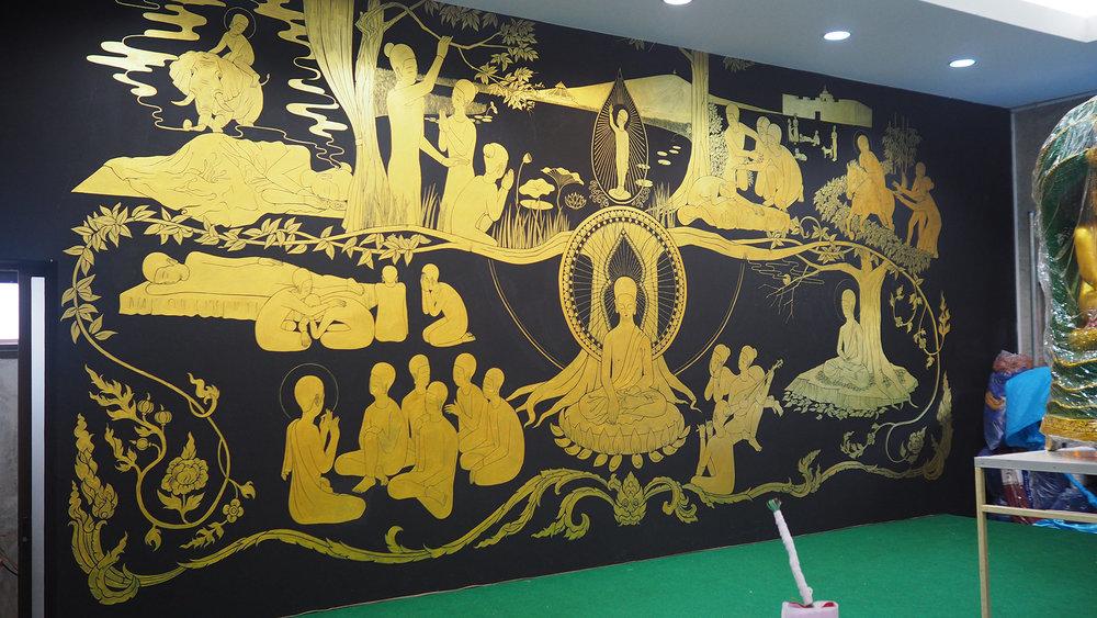 팔상도 八相圖 / Life of buddha Op.0184PW - 600 x 250 cm, 벽에 아크릴 채색 / Acrylic on wall, 2017 Location:โรงเรียนดอยสะเก็ดผดุงศาสน์ Choeng Doi, Doi Saket District, Chiang Mai, Thailand