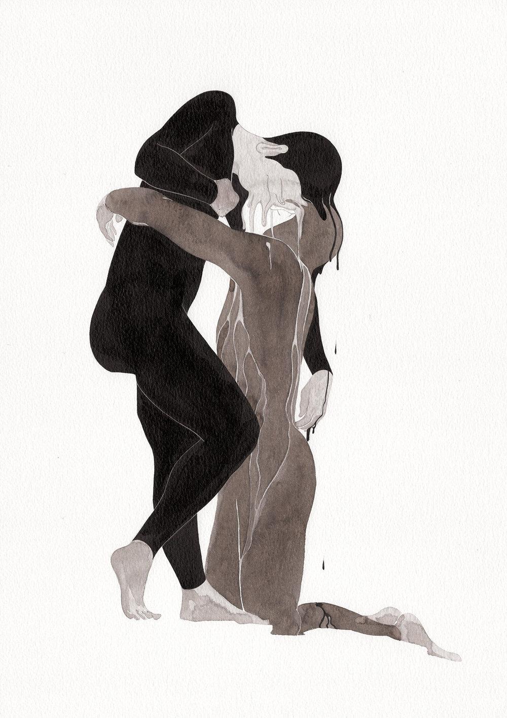 슬픔의 물성 / Property of sorrow Op.0187P -29.7 x 42 cm,종이에 잉크 / Ink on paper, 2017 inspired by the sculpture,'Vertumne et Pomone' by Camille Claudel
