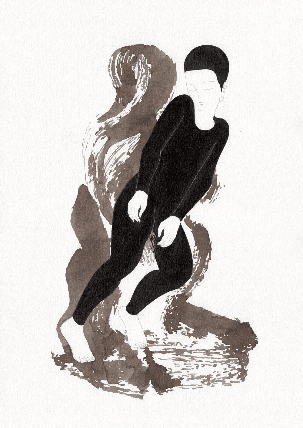 이물감 / Taste of foreign Op.0188P -29.7 x 42 cm,종이에 잉크 / Ink on paper, 2017 inspired by the sculpture,'Fame et Nymphe ou Le Minotaure' byAugust Rodin